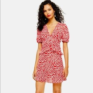 Topshop Red Floral Mini Dress